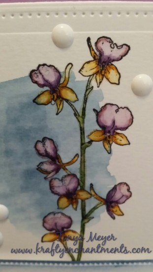Close up of watercolor background and colored iris