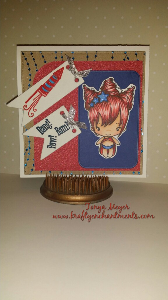4th of July Card featuring a stamp from The Greeting Farm Magical set.
