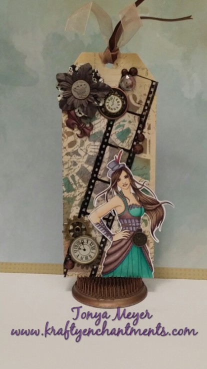 Completed Steampunk tag featuring Nikki Burnette's digi  Constance