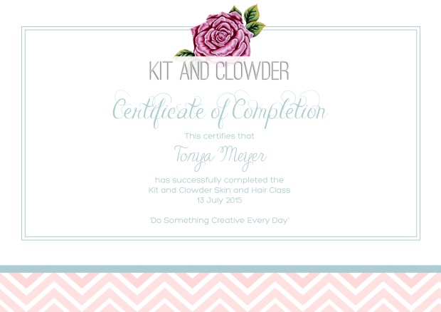 Skin & Hair Class Certificate of Completion from Kit and Clowder