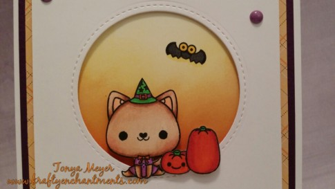 Kitty, pumpkins and bat stamps from Mama Elephant's Happy Meowlloween stamp set. Colored with Copic markers.