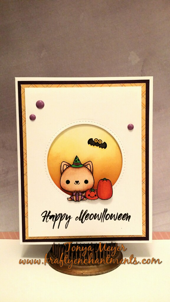 Completed Happy Meowlloween Card.