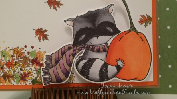 Raccoon with Pumpkin stamp by Stacy Yacula from Purple Onion Designs. Colored with Copic Markers.