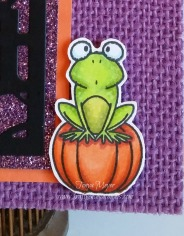 Frog sitting on pumpkin created with a mask.