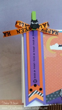 Die-namics Fishtail Flags and Jane's Doodles Winnie trick or treat sentiment