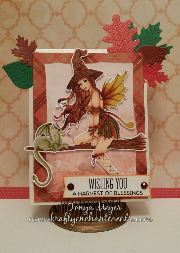 Completed Harvest theme card with Rowena from Spellbinding Stamps